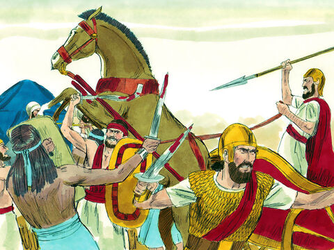 They went into battle against the Philistines again. 30,000 Israelite soldiers died that day. The survivors turned and fled to their tents. The Ark of God was captured, and Hophni and Phinehas, the two sons of Eli, were killed. – Slide 18