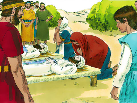 The wife of Phinehas was pregnant. When she heard the news her husband was dead she went into labour but died in childbirth. The baby lived and was called Ichabod (which means 'Where is the glory?'), for she said, 'Israel's glory is gone.'TheLord continued to appear at Shiloh and gave messages to Samuel at the Tabernacle. – Slide 20
