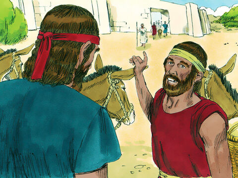 Saul and his servant searched for the missing donkeys but could not find them. Saul wanted to return home but his servant suggested, 'There is a highly respected man of God in this town. Perhaps he will tell us what way to take.' – Slide 8