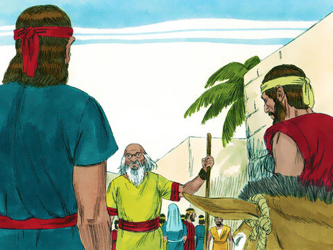 As they went up to the town they met Samuel. He was on his way to the High Place where he worshipped God. – Slide 9