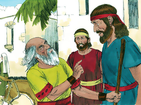 The next morning, as Saul and his servant set off, Samuel asked the servant to go on ahead as he had a message from God to give Saul. – Slide 13