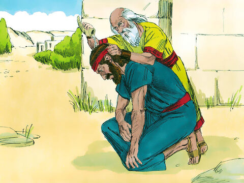 When they were alone, Samuel took a flask of olive oil and poured it on Saul's head. 'Has not the Lord chosen you to be a ruler over His land?' Samuel asked. He then told Saul of three things that would happen to him. – Slide 14