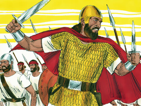 Saul was 30 years old when he became king. He gathered an army to defend the Israelites against Philistine raiders. Any strong or brave man was added to his fighters. – Slide 1