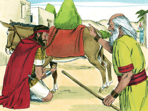 Samuel came to Saul with a message from God. 'The Lord is to punish the Amalekites for attacking and killing the Israelites as Moses led them through the wilderness. You are to attack and destroy them. You must also destroy all their animals too. No living thing is to be spared.' – Slide 2