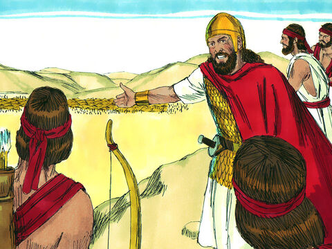 King Saul and his army set an ambush for the Amalekites in a ravine. – Slide 5