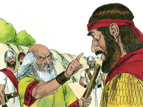 Saul explained that the animals had been plundered from the Amalekites but the best were to be sacrificed to God. Samuel replied, 'God sent you on a mission to totally destroy the wicked Amalakites. Why did you disobey and plunder?' – Slide 14