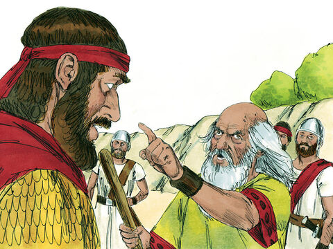 As Samuel turned to go, Saul took hold of part of his clothing, and it tore. So Samuel said to him, 'Today the Lord has torn the rule of Israel away from you and given it to someone who is better than you.' Samuel then executed Agag, king of the Amalekites himself. – Slide 17