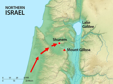 The Philistines brought their army to a place near Shunem. – Slide 2