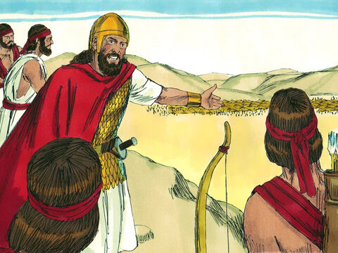 King Saul and his army went out to defend their country. They camped on Mount Gilboa but when Saul saw the Philistine army, he was afraid. – Slide 3
