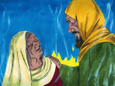 Saul promised her she would be safe. Then he asked her to call back the spirit of the prophet Samuel. When Saul heard Samuel's voice he said, 'I am in great trouble, Samuel. Tell me what I must do.' – Slide 8