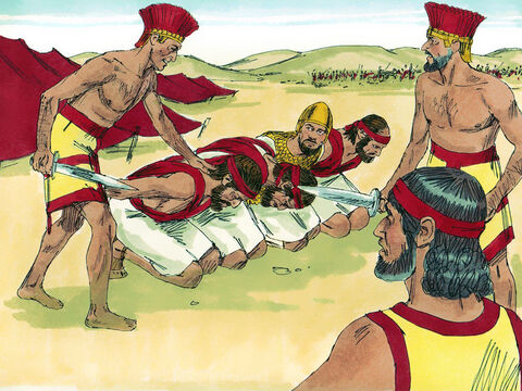 Just as Samuel said, the Philistines defeated the Israelites the next day. Many Israelites were killed and the rest fled. The enemy captured Saul's sons, including Jonathan, and killed them. – Slide 10