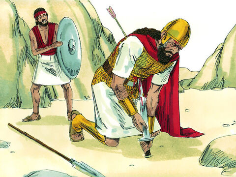 Saul was badly wounded by an arrow. Not wanting to be captured, he asked his amour bearer to kill him. But the amour bearer refused. So Saul killed himself by falling on his own sword. – Slide 11