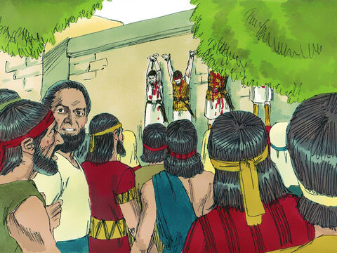 The next day the Philistines found the bodies of Saul and his sons. They cut off Saul's head then nailed his body and the bodies of his sons to the wall of the city of Beth-shan. – Slide 12