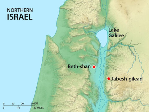 When the Israelites who lived in Jabesh heard about this, some of their bravest men went to Beth-shan and took down their bodies. – Slide 13