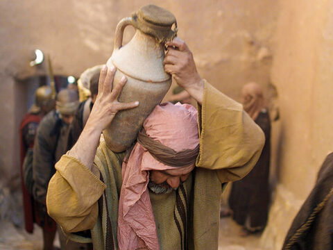 They followed the man with the jar through the narrow streets of Jerusalem ... – Slide 6