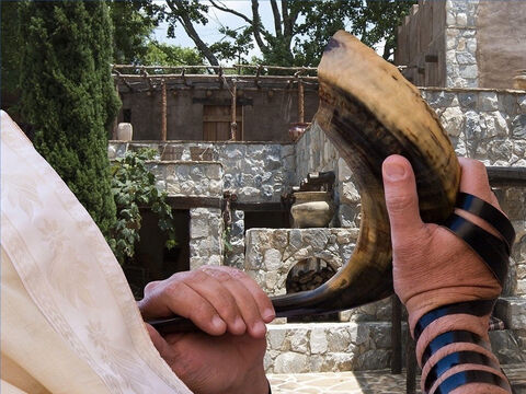 Rams' horns were blown when Joshua took Jericho (Joshua 6:4) and were used to announce the start of the Sabbath and other events. – Slide 26
