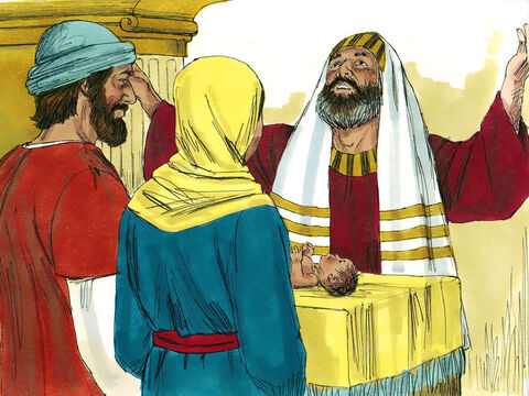 Eight days after Jesus was born Jesus was taken for the Jewish ceremony of circumcision (Genesis 17:11; Leviticus 12:3). At this ceremony He was named Jesus, the name the angel had told Joseph to give God's Son. – Slide 1