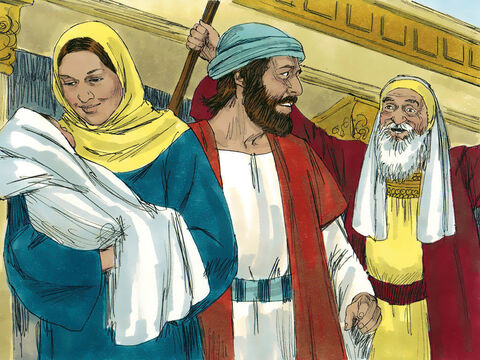 Living in Jerusalem was a old man called Simeon who had been told by God that he would not die until he had seen the Saviour God had promised to send. The Holy Spirit told Simeon to go into the Temple. – Slide 3