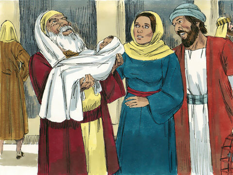 When he saw Mary he took the baby in his arms and praised God saying, 'Lord, now I can die content! For I have seen the Saviour of the world as you promised me I would. – Slide 4