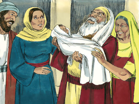 An 84-year-old widow called Anna was in the Temple that day and she saw Simeon talking to Mary and Joseph. She also began thanking God for sending the Saviour of the world. – Slide 6