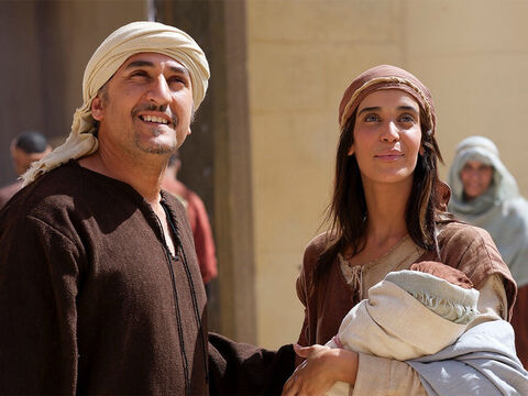 Forty days after Jesus was born, Mary and Joseph took Jesus to the Temple for the ceremony of purification (Leviticus 12:2-6,8). – Slide 1