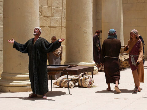 Living in Jerusalem was an old man called Simeon who had been told by God that he would not die until he had seen the Saviour God had promised to send. The Holy Spirit told Simeon to go into the Temple. – Slide 4