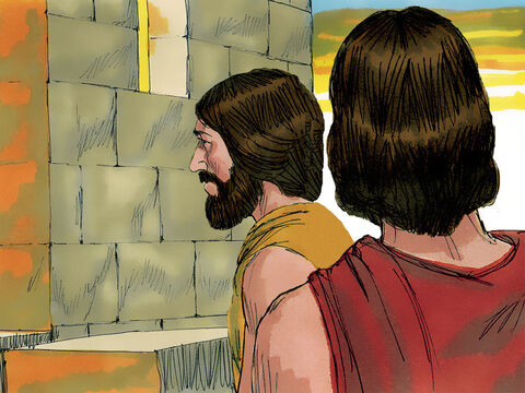 The two angels, looking like men, made their way to the city of Sodom where Lot lived with his wife and two daughters. Lot was sitting by the city gate. – Slide 2