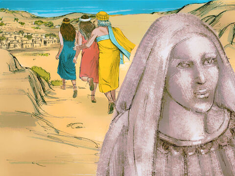 Lot's wife however ignored the warning not to look back. She was covered with burning sulphur, ash, salt and fumes. Her dead body looked like a pillar of salt. – Slide 14