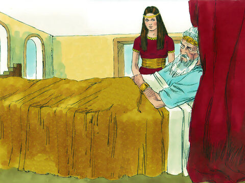 When King David was old and weak a carer called Abishag was chosen to look after him. David had many sons by several wives but had promised Bathsheba, the mother of Solomon, that her son would succeed him as king. – Slide 1