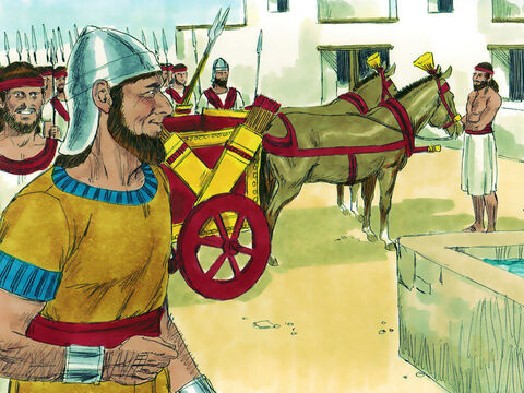 Another of David's sons, Adonijah, the younger brother of Absalom, saw an opportunity to make himself King instead. He got chariots and horses ready, with fifty men to run ahead of him – Slide 2