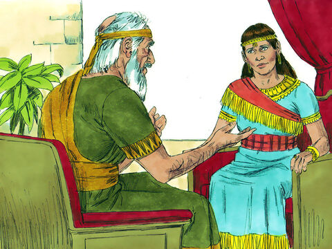 When the prophet Nathan learnt about the plot, he went to Bathsheba and advised her life and that of Solomon was under threat. Nathan urged her to go to King David and ask, 'Didn't you promise me that Solomon would take over the throne? Why then has Adonijah become king?' – Slide 5