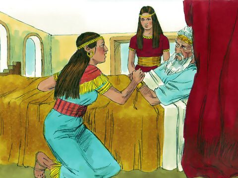 So Bathsheba went to see the aged king and bowed down before him. She told David that Adonijah had declared himself King and Joab and others were supporting him. She pleaded with him to let Israel know who David had chosen to be king. Nathan then arrived to confirm the plot to David. – Slide 6
