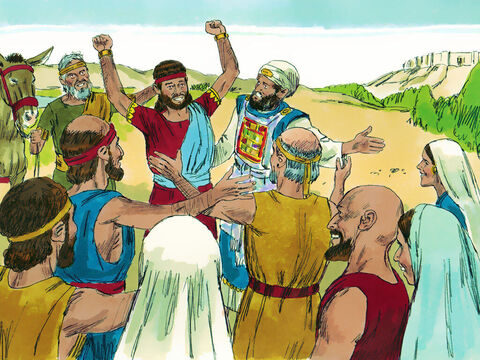 People played pipes and celebrated so loudly that the ground shook. The noise could be heard further down the Kidron valley where Adonijah and his rebels were finishing their feast. At first Adonijah thought it must be good news. – Slide 9
