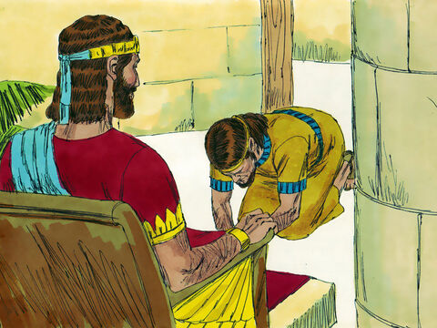 King Solomon sent men to bring Adonijah down from the altar. Adonijah bowed down before King Solomon, who told him, 'Go to your home.' – Slide 12