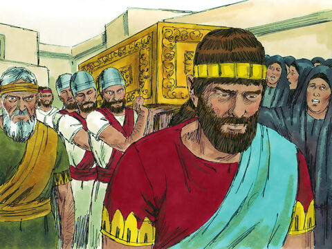 When David died he was buried in Jerusalem (also known as the city of David). Solomon dealt with those who had and supported Adonijah's rebellion and was firmly established as king. – Slide 14