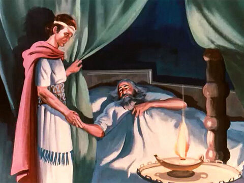 For forty years King David had ruled the people of Israel. When the time came for him to die, he called his son Solomon to his bedside, and he gave the rule of the kingdom into his hands. – Slide 1