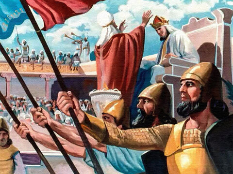 It was a happy day for the people of Israel when Solomon was made king. Trumpets blew and the people shouted. Solomon was a good king, and, remembering his father's words, he asked God to guide him. – Slide 4
