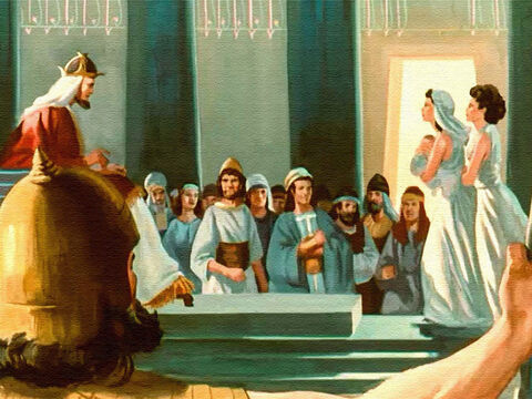 One day two women were ushered into the court and stood before the king.  They were crying and quarrelling. One was holding a baby in her arms. – Slide 9