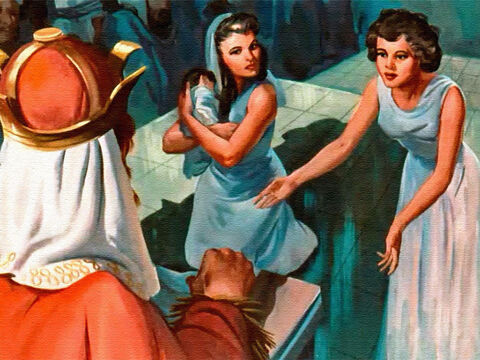 'No! The child is mine!' the first woman said to the king. – Slide 12