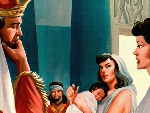 Everybody in the court was quiet, waiting to hear what Solomon would say. – Slide 14