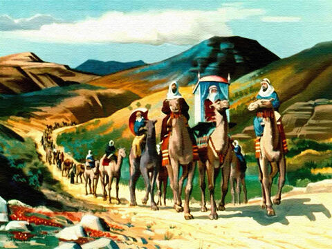 ... so she travelled a thousand miles across the harsh desert, followed by camels bearing gifts for the king – gold, spices and jewels. – Slide 23