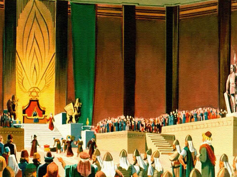 At last she stood in Solomon's magnificent court! There were many things she wanted to see and many questions she wanted to ask this wise man. Solomon showed her the temple where his people worshipped God and took her to see his palace. – Slide 24