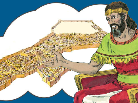 God had not allowed King David to build a temple in Jerusalem as David was a man of war. However, David had prepared a plot of land in the city for his son Solomon to build the temple and gathered some of the building materials he would need. – Slide 1