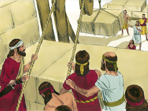 Solomon had 70,000 carriers and 80,000 stonecutters in the hills, managed by 3,300 foremen. They quarried large blocks of highgrade stone and chiseled them into shape before transporting them to the temple. In this way no hammer, chisel or iron tool was heard at the temple site while it was being built. – Slide 5