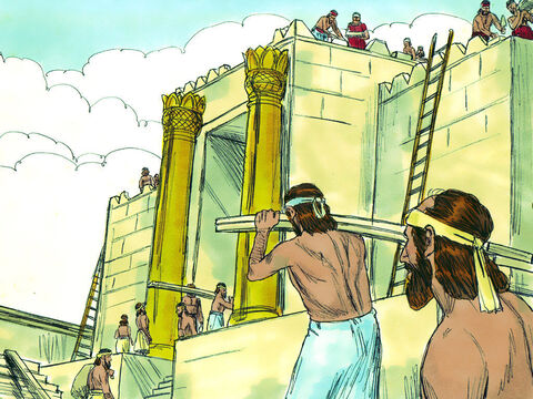 The temple was 90ft (27m) long, 30ft (9m) wide and 45 feet (14m) high. The interior walls were lined with cedar boards. On the walls around the temple were carvings of angels, palm trees and open flowers. – Slide 6