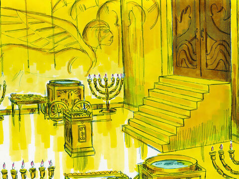 The inner sanctuary was overlaid inside with pure gold. The floors of the inner and outer room were also covered with gold. Gold was used to create the altar, the table for bread, the lampstands and other furnishings. – Slide 7