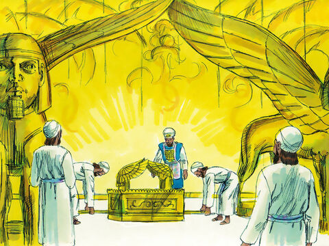 It was put in the Most Holy Place beneath the wings of the cherubim. – Slide 11