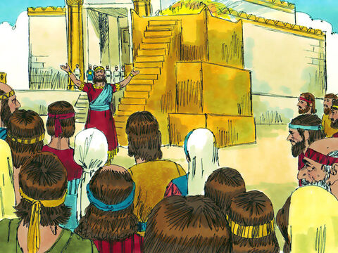 Solomon blessed the people and praised God. 'The Lord has kept his promise to David and I have built the temple for the Name of the Lord,' he declared. – Slide 13