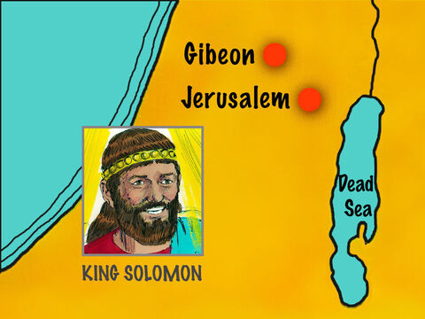 After becoming King, Solomon went to the most important high place at Gibeon to offer a sacrifice to God. – Slide 1