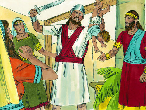 A sword was brought in. Solomon ordered, 'Cut the living child in two and give half to one and half to the other.' – Slide 11